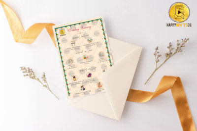 indian wedding itinerary cards