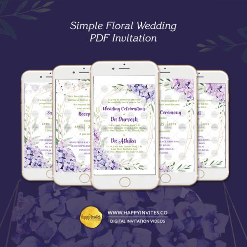 Simple Floral Wedding PDF Invitation