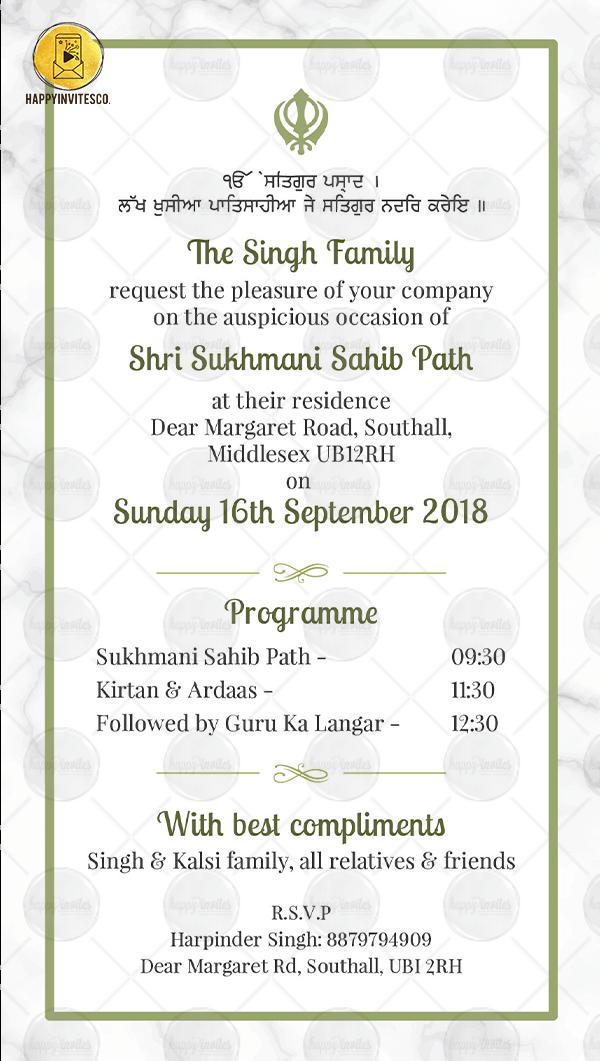 Sukhmani Sahib Path Invitation Whatsapp