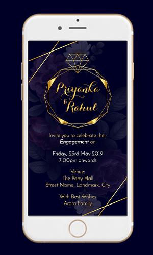 EE01 - Royal Blue Engagement Invitation