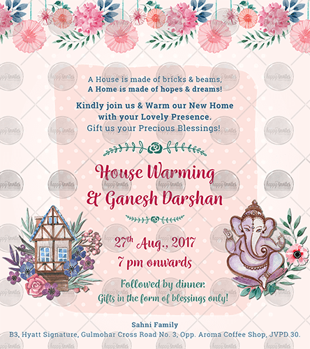Oe02 Floral House Warming Invite