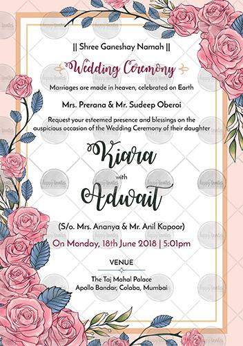 Pink Floral Wedding Invitation Ecard