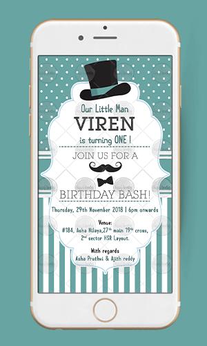 Little Man Birthday Invitation Hy