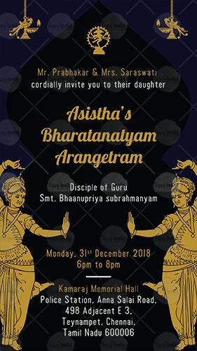 Bharatanatyam Arangetram Invitation