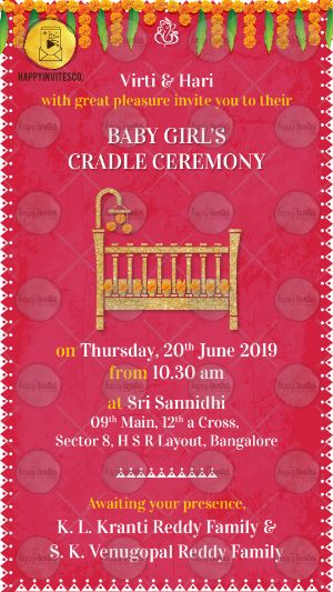 Traditional Indian Cradle Ceremony Invitation Online
