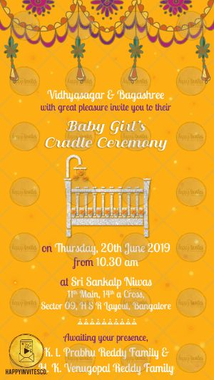 Cc04 Traditional Baby Cradle Ceremony Invitation Card