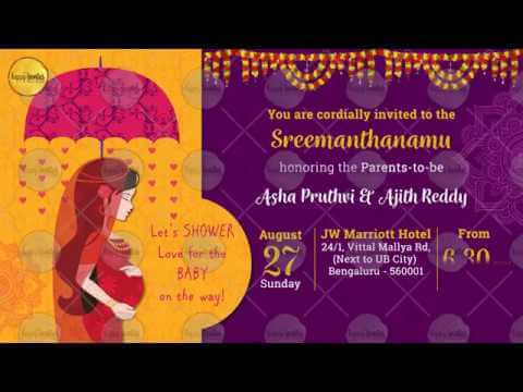 Indian Baby Shower Invitation Sreemanthanamu Godh Bharai