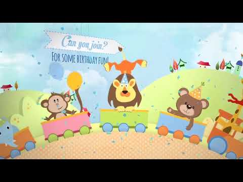 Jungle Theme Birthday Invitation Card Video Slideshow Photo Memories