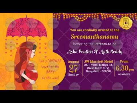 Pa01b Traditional Baby Shower Invitation Video Godh Bharai