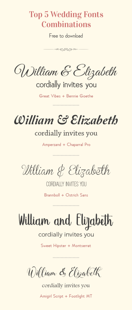 Free Wedding Font Combination