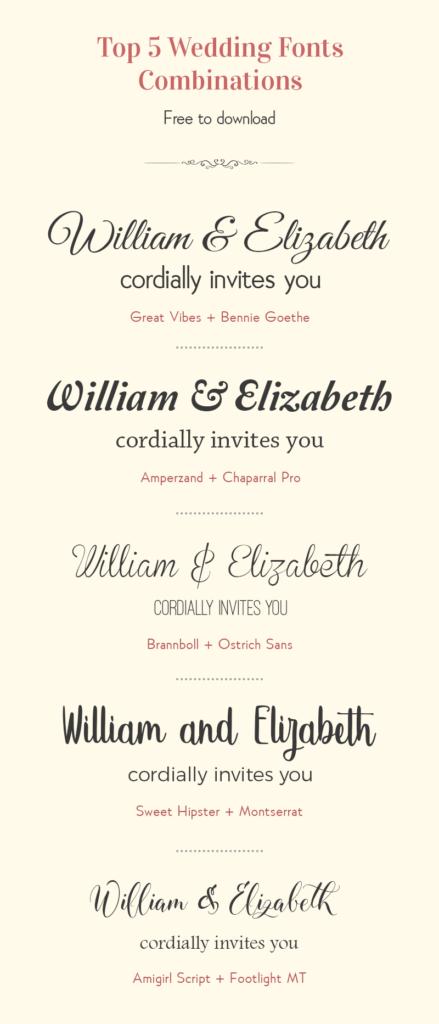 Free Wedding Font Combinations - Happy Invites Invitation Maker