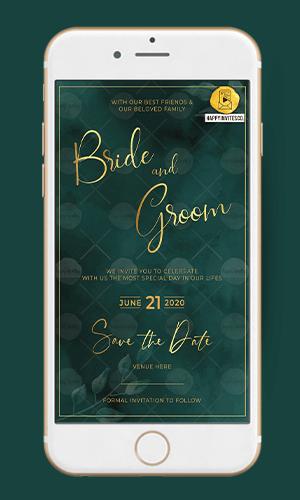 Golden Green Ecard Wedding Invitation