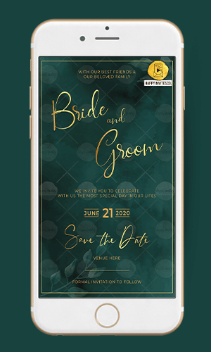 Golden Green Ecard Wedding Invitation