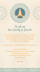 wedding postponed cards Indian Style