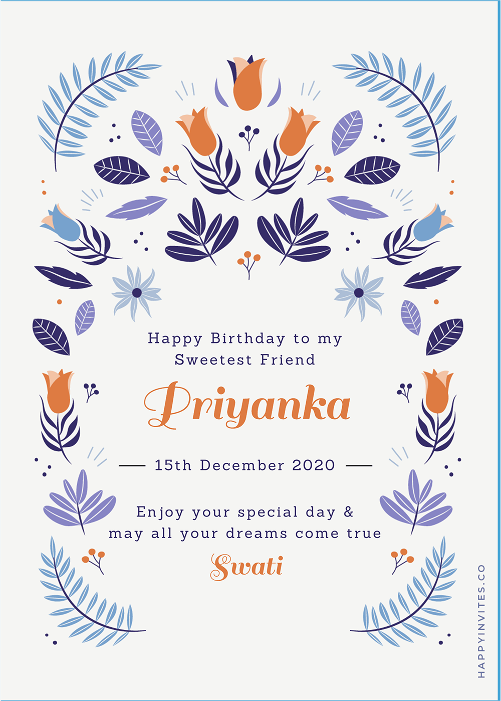 Blue Floral Card - Birthday Wishes Card