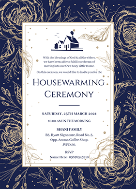 Floral Housewarming Invitation Card