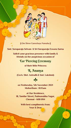 Ear Piercing Ceremony Invitation Online